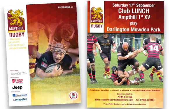 Ampthill Rugby club design print and branding