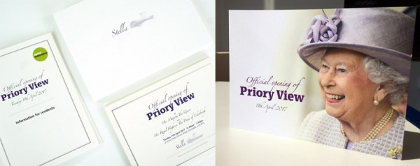 Invitations to Priory View opening by The Queen